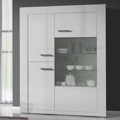 meuble vaisselier blanc laqué design BERIL