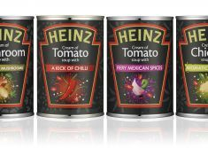 Heinz soup cans. Uses the typical Heinz shape around the logotype, product name and image. The image is illustrated, which I think is unusual for Heinz, and grey illustrations on a black background around the red shape. The colours are vibrant, and contrast well with the black.