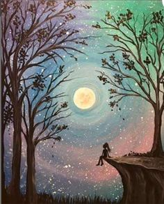 Browse our upcoming painting classes and events at Park Cities Pinot's Palette! Reserve your seat for the best paint and sip experience today! Forest Painting, Moon Painting, Talking To The Moon, Easy Landscape Paintings, Paint And Drink, Moon Shadow, Painting Studio, Moon Art, Paint Party