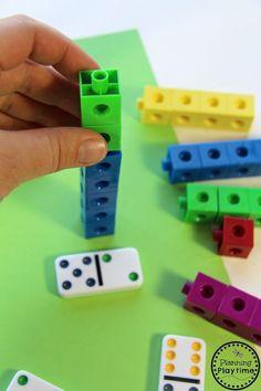 Math Bin | Fun Kindergarten Addition activity for kids. Kindergarten Addition, Kindergarten Math Activities, Math Addition, Preschool Math, Math Classroom, Addition Games, Therapy Activities, Cognitive Activities, Montessori Math