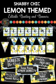 "Create your own inspiring bulletin board messages throughout the school year with these GORGEOUS, shabby chic, lemon themed banners and bunting options.  This ""zesty"" bundle of EDITABLE banners coordinates perfectly with my other lemon themed classroom decor packets.  Click here to check out the print-and-go programmed banners or discover the ease of designing your own! #lemonclassroomtheme #lemonclassroom #lemonclassroomdecor #lemonclassroomdecorations #lemonclassroombulletinboard #lemons"