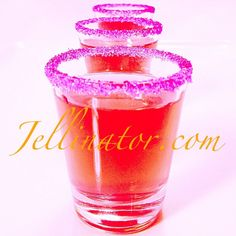 Kinky Malibu Barbie ...Jello Shots! Peach jello dissolved in 1 cup water + 1/2 cup Malibu + 1/2 cup Kinky liqueur... Use your Jellinator to fill some pink sugar rimmed shot glasses. Chill. Then serve these gorgeous little shots!