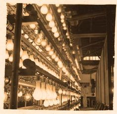 #Light #bulb testing rack at #GE Lighting's Nela Park facility in Cleveland, Ohio back in the 1938.
