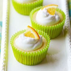 Baby Citrus Cheesecakes: A cupcake-size treat that's a fantastically simple alternative to full-size cheesecake. Recipe: http://www.midwestliving.com/recipe/cheesecake/baby-citrus-cheesecakes/