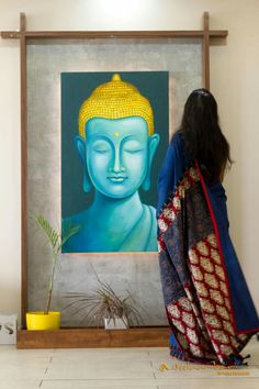 51 Ideas For Wall Decor Living Room Classic Ceilings Pooja Room Design, Foyer Design, Wall Design, Budha Painting, Deco Zen, Buddha Decor, Classic Ceiling, Puja Room, Indian Living Rooms