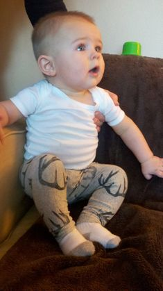 Antler Baby Skinnies, Baby Leggings, Deer, Antlers, Unisex, Hunting, Gray, Hipster, Pants, Animal Print. $35.00, via Etsy.