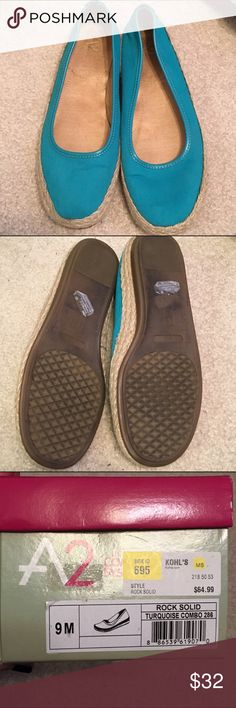 A2 by Aerosoles Turquoise Flats size 9 Worn once. Teal with straw detail. Still have original box. AEROSOLES Shoes Flats & Loafers