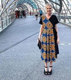 Printed wrap dress and Fly London wedge sandals | 40plusstyle.com