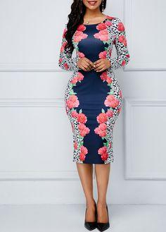 Long Sleeve Flower Print Zipper Side Sheath Dress #dress #dresses #fashion