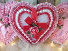 One-Half Dozen Pink /& White Twisted Chenille *Valentine* Hearts