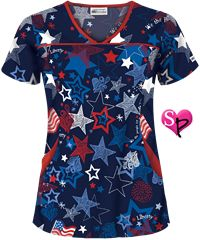 UA Liberty and Justice Navy Print Scrub Top