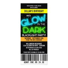 Glow in the Dark Invitations | Glow in the Dark Birthday Party Custom Announcements from Zazzle.com