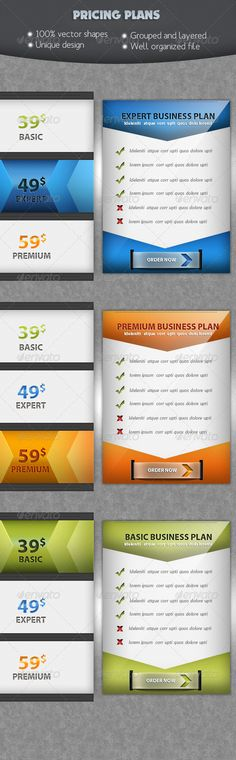 Trendy Pricing Tables Colors, Texts and Wells - price chart template