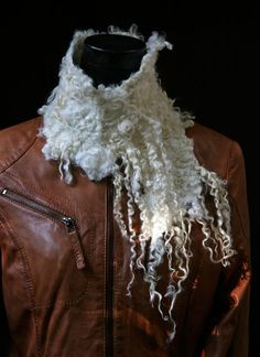 Felt neck warmer, using locks of wool, not carded