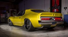 "Ringbrothers revealed its 1972 AMC Javelin AMX ""Defiant!"" at the 2017 SEMA show with over hp, thanks to a Hellcat engine. Amc Javelin, Chevy, Chevrolet Camaro, Camaro Ss, Custom Muscle Cars, Custom Cars, Dodge Charger, Volkswagen, Las Vegas"