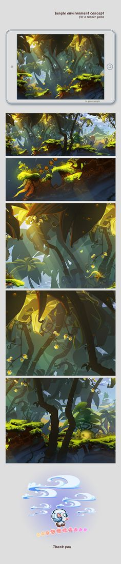 Jungle environment concept by Adrian Andreias, via Behance