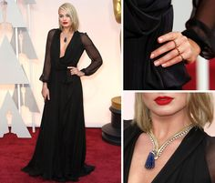 Margot Robbie  went wily for the Academy Awards, in a plunging femme fatale look by Saint Laurent. Photographs by Noel West for The New York Times, except ring detail by Jackson/Reuters
