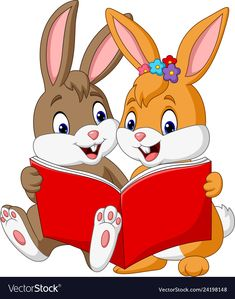 Cartoon couple of rabbits reading a book Vector Image Cartoon Cartoon, Reading Cartoon, Cute Cartoon Animals, Couple Cartoon, Cartoon Drawings, Cartoon Characters, Cute Animals, Art Drawings For Kids, Art For Kids