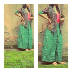 wide leg pants, paired with tie-dye formal jacket #fashion #style #bohemian #green #streetstyle #pants https://www.facebook.com/pages/itr-by-Khyati-Pande/413463132042507?id=413463132042507=photos_stream