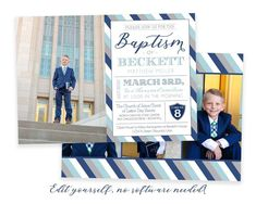 Send a custom baptism invitation to friends a family to announce your son's baptism day! This customizable baptism invitation will highlight your son's special baptism portraits. Photos and text can be added in minutes by you! Easily edit in your web browser, no software needed! See the matching Costco Home, Lds Baptism Program, Baptism Announcement, Baptism Pictures, Beav, Boy Baptism, Baptism Invitations, Floral Invitation, Text Color