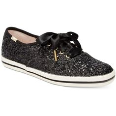 Keds for kate spade new york Glitter Lace-Up Sneakers ($80) ❤ liked on Polyvore featuring shoes, sneakers, black, black glitter shoes, glitter platform sneakers, black trainers, black platform sneakers and black sparkly shoes