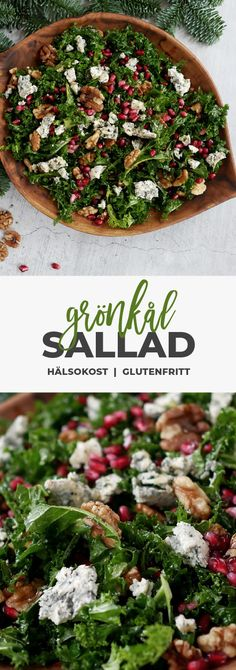 Grönkålssallad med ädelst, valnötter och granatäpple. Perfekt julsallad! Veggie Recipes, Vegetarian Recipes, Cooking Recipes, Xmas Food, Swedish Christmas Food, Clean Eating, Healthy Eating, Healthy Recepies, Diner Recipes