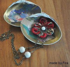 Collar de tela flor de cerezo - rojo (listo para nave)