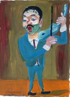 """El violinista"", gouache sobre papel, 24x 30 cm., 1998"