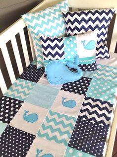 Preppy Whales Chevron & Dots Aquamarine & Navy Blue Baby's Crib Bedding Decor Nursery Bedroom
