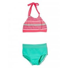 Elliewear Big Girls Coral Aztec Tribal Crop Top Brief 2 Pc Dance Set 7-14