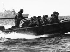 May 21, 1982: Royal Marine Commandoes practise landings before the final assault.
