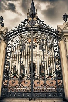 Ornate wrought iron gates