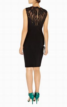 Karen Millen DM120 Dramatic Applique Dress Black on sale