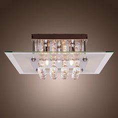 Lightinthebox comtemporary crystal drop flush mount lights with 5 lights in square design