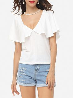 Plain Cape Sleeve Chic Deep V Neck Short-sleeve-t-shirts