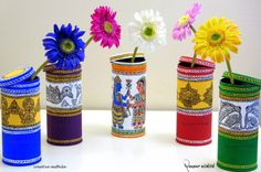 Mithila / Madhubani Paintings handpainted on recycled tin cans. Artist: Nupur Nishith