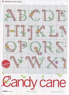 Candy Cane Alphabet 1 of 2 Christmas Cross Stitch Alphabet, Xmas Cross Stitch, Cross Stitch Letters, Cross Stitch Needles, Modern Cross Stitch, Cross Stitch Designs, Cross Stitching, Cross Stitch Embroidery, Stitch Patterns