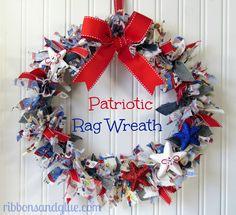 How to turn a Dollar Store wreath into a rag wreath.  {ribbonsandglue.com}