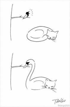 Como desenhar um cisne .. Desenhe um gato e depois um pássaro
