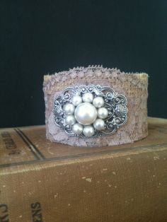 Burlap and Vintage Rose Colored Lace by burlapheartstrings on Etsy, $16.99