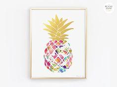 Pineapple Art Print Pineapple in Gold Watercolor Digital