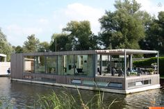 modern houseboat on the river Vecht