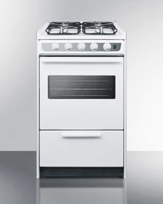 White slid-in gas range with slim 20' width and oven window