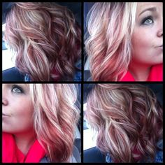 Ashy blonde with coppery violet red. I am in complete love.... definitely doing this ♡