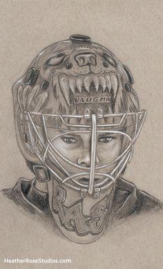 Tuukka Rask. Boston Bruins hockey portrait by Heather Rose.