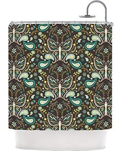 KESS InHouse Kess InHouse Suzie Tremel Butterfly Garden Shower Curtain, 69 by 70-Inch, Brown/Teal from Amazon | BHG.com Shop