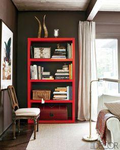 colorful bookcase.