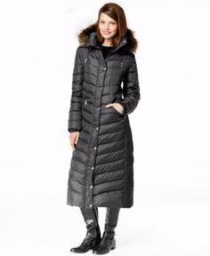 MICHAEL Michael Kors Hooded Faux-Fur-Trim Maxi Down Coat, M, BLK was $400  #MichaelKors #Puffer