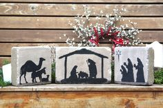 Rustic Nativity Scene. Christmas Decor. Indoor or Outdoor. 3 piece set. 6x9, 6x6 Concrete Stones. Outdoor Nativity Decor. READY TO SHIP by blessingandlight on Etsy https://www.etsy.com/listing/252034232/rustic-nativity-scene-christmas-decor