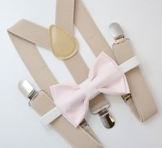 Bow Tie & Suspenders SET / Peony Mauve Pink Bow Tie / Tan Khaki Suspenders / Kids Mens Baby Wedding Page Boy Set 6 months - to Adult Set Wedding Page Boys, Baby Wedding, Dream Wedding, Wedding Ideas, Wedding Inspiration, Suspenders For Kids, Bowtie And Suspenders, Chambelanes, Pink Bow Tie